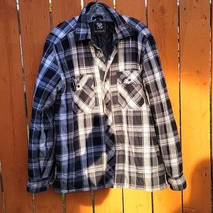 BC Clothing Men's Grey Plaid Shacket Sz S